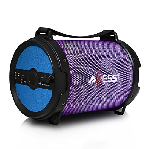 """AXESS SPBL1046 Portable Bluetooth 2.1 LED Lit Hi-Fi Cylinder Loud Speaker with Built-In 6"""" Sub and SD Card, USB, AUX, 2 Microphone Inputs in Blue"""