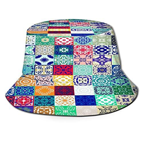 Sombrero de Pescador para ,Azulejo marroquí Col, Sombreros de Sol Plegables con protección UV, Sombreros de Pesca de Viaje en la Playa, para Senderismo, jardín, Safari, Acampada al Aire Libre.