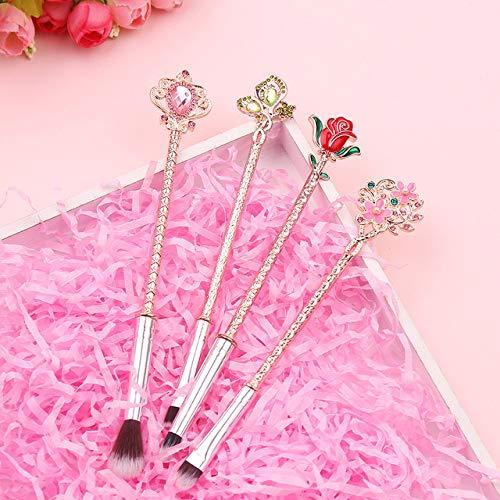 HZD Anime Makeup Brushes Set Cosmetics Soft Fiber Hair Rose Flower Makeup Blush Eye Shadow Eyebrow Brush,4pcs