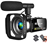 LINNSE Camcorder 4K Video Camera Vlogging Camera Recorder with Microphone 30MP 3' LCD Touch Screen Webcam Function 18X Digital Zoom YouTube Camera with Remote Control