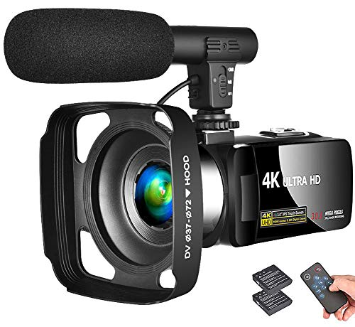 """LINNSE Camcorder 4K Video Camera Vlogging Camera Recorder with Microphone 30MP 3"""" LCD Touch Screen Webcam Function 18X Digital Zoom YouTube Camera with Remote Control"""