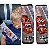 HECKBO® 2x Protezione per Cintura di Sicurezza con Motivo Racing - Spallina Imbottita, Cuscino per Auto, Imbottitura per Cintura di Sicurezza per Seggiolini, Copricintura per Bambini e Ragazzi