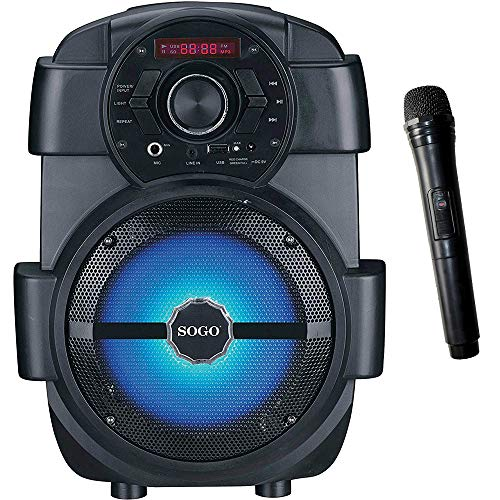 "SOGO SS-8760 Altavoz portátil Bluetooth 6.5"", USB 2.0 (32gb) MP3 / Radio FM/AUX IN/Karaoke Microfono Incluido, Luces Multicolor - Color Negro"