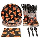 Juvale - Set di stoviglie usa e getta, per 24 pizze, include coltelli in plastica, cucchia...