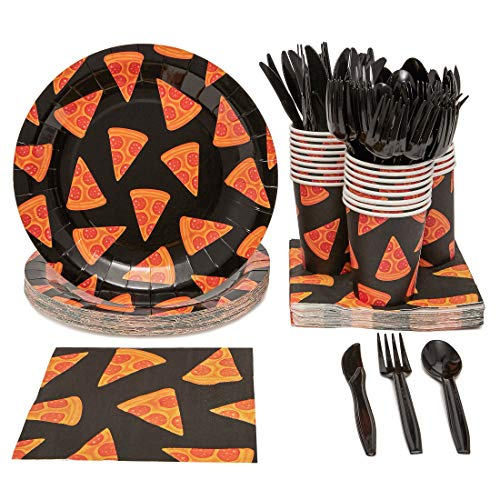Pizza Party Supplies Pack, Includes Paper Plates, Napkins, Cups and Cutlery (Serves 24, 144 Pieces Total)