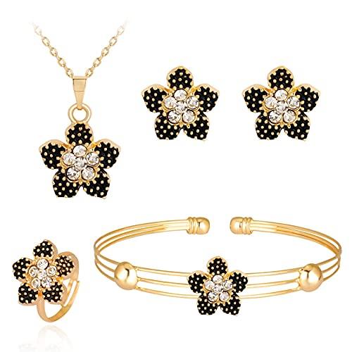 Black Border Diamond Flowers - Juego de joyas de 4 piezas (pendientes, anillo, collar y pulsera)