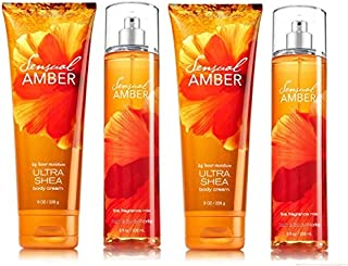 Bath & Body Works Signature Collection Sensual Amber Gift Set 2 Body Cream & 2 Fragrance Mist. Lot of 4