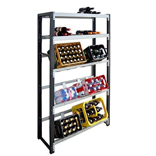 Getränkeregal für 6 Kisten plus Ablagen für Weinflaschen - für Wandmontage geeignet (Hauptregal)