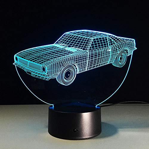 WAGUZA Lámpara de cambio de 7 colores Taxi Car 3D Acrílico Luz nocturna con interruptor táctil remoto Luminaria 3D Luz nocturna para niños Regalo de Navidad