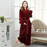 TANGSONG Albornoz de mujer otoño invierno cálido Terry kimono coreano espesar camisón suelto cuello en V manga larga con fajas de baño de las señoras L rojo