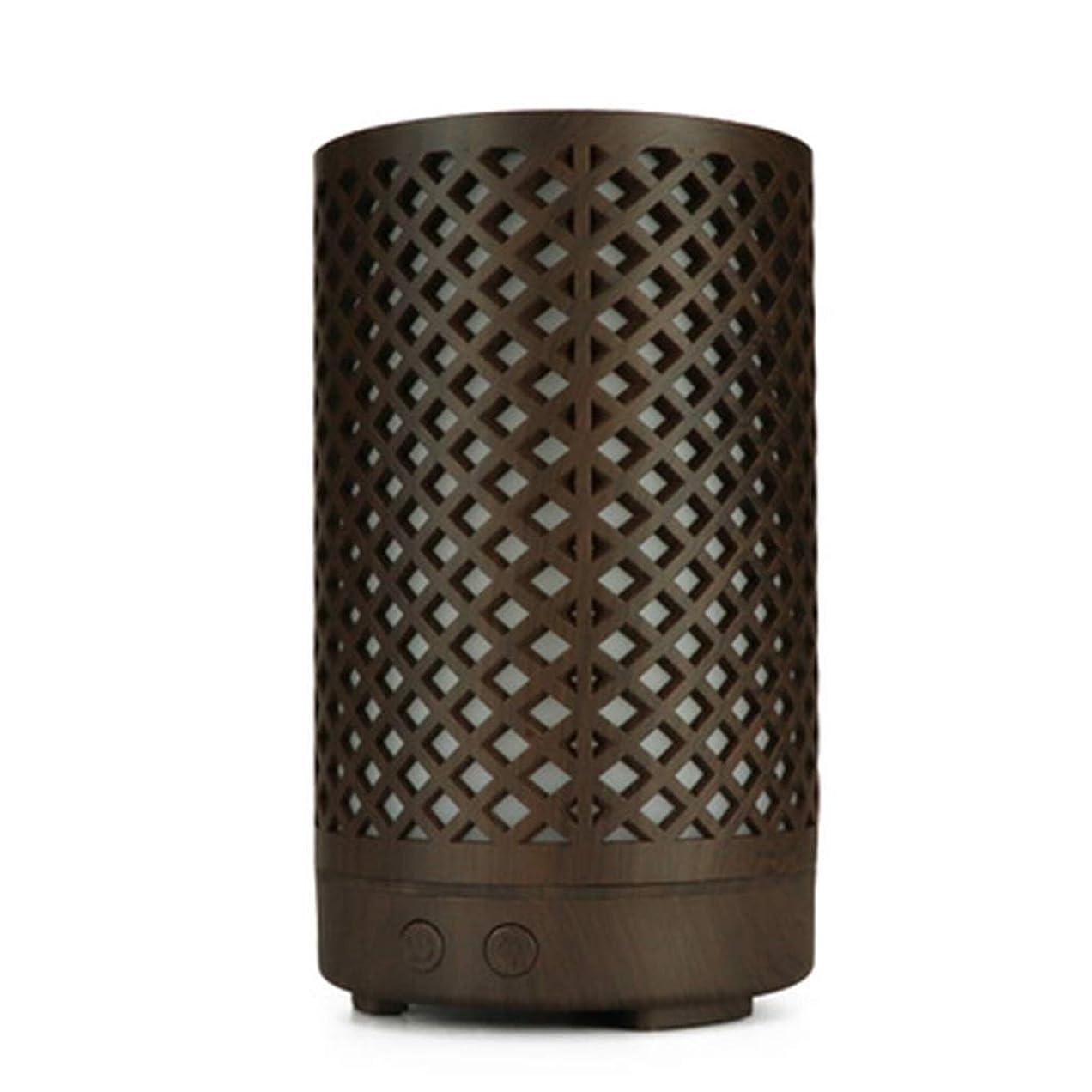 麻痺させる囲まれたしわ木目加湿器家庭用100ミリリットルミニデスクトップカラフルなアロマテラピーマシン (Color : Dark wood grain)