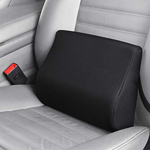 LARROUS 100% Memory Foam Lumbar Back Support Pillow for Car seat,Lower Back Pain Relief,Keeps Back Straight,with Adjustable Strap,for Office Chair,Desk Chair,Wheelchair.(Black)