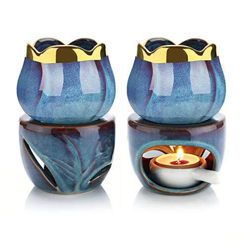 ComSaf Keramik Duftlampe Aromalampe Aromabrenner für Duftöl und Duftwachs mit Kerzenhalter Indigo 2er-Set