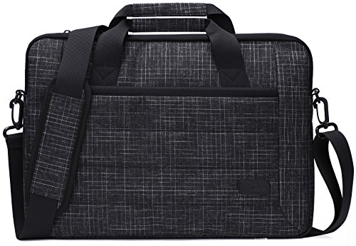 ProCase 13-13.5 Zoll Aktenkoffer Messenger Bag mit Schultergurt und Griff für Tablet Laptop MacBook Air Chromebook Acer Asus Dell HP Lenovo Samsung with Handle Carrying Shoulder Strap -Schwarz