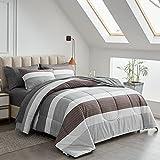 Joyreap 7 Piece Bed in a Bag King, Light Gray n Brown Stripes Design, Smooth Soft Microfiber Comforter Set (1 Comforter, 2 Pillow Shams, 1 Flat Sheet, 1 Fitted Sheet, 2 Pillowcases)