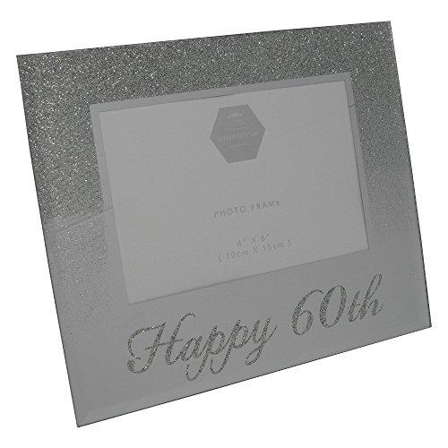Cadre photo argenté à paillettes « Happy 60th Birthday »