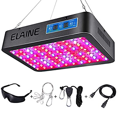 Elaine UpgradedTimer Control 600W LED Grow Light Full Spectrum Auto On/Off Timing Function with UV&IR for Indoor Plant Veg and Flower