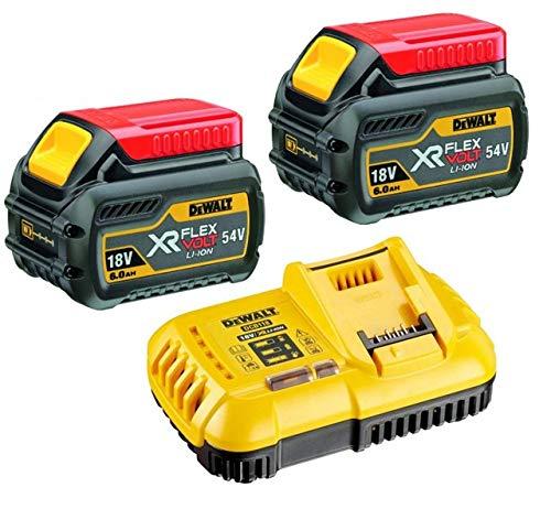 Dewalt DCB546 - Set di 2 batterie XR Flexvolt con caricatore rapido DCB118, 6 Ah, 18 V, 54 V