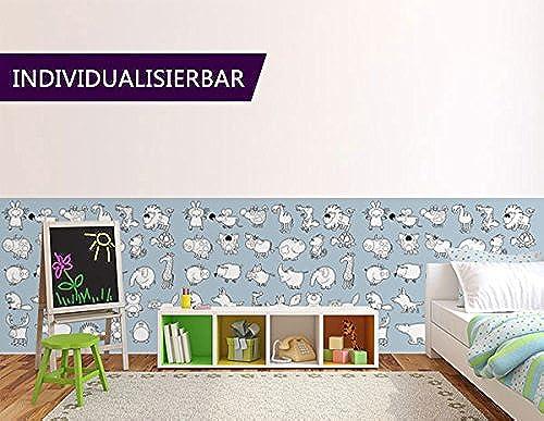 AUSMALTAPETE für Kinder Animals AT4 Größe  420x120cm XXL-Tapete Papiertapete Kleistertapete