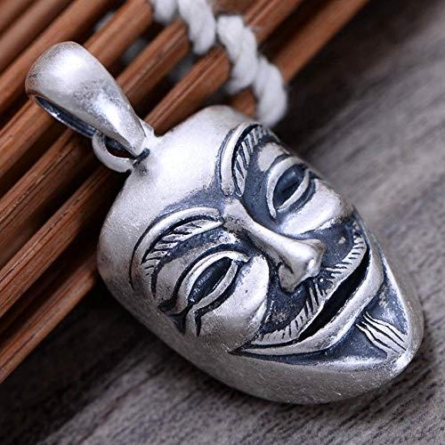 HAIHF Halskette, S999 Sterlingsilber Herren Persönlichkeit Retro Matte V Maske Anhänger Halskette Geschenk für Familie oder Freunde