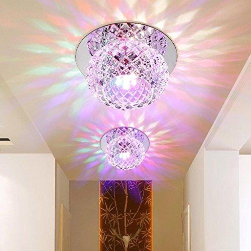 5W LED Deckenleuchte Modern Unterputz Einbauleuchte Beleuchtung Decken und Wandleuchte Spots Kristall Runde Effekt Lampe für Flur, Vorraum Ø 12CM, Colorful