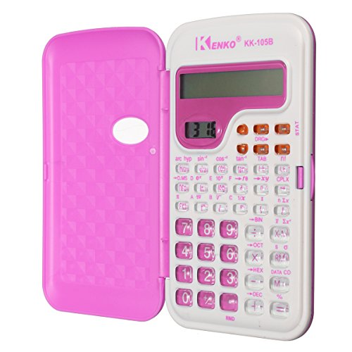 CoCocina Candy Color Office Mini Scientific Calculator School Student Function Calculator Multifunctional Clock Calculator -Rose