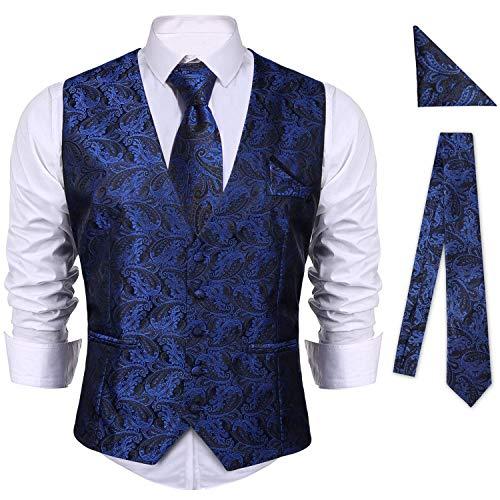 iClosam Herren Weste Anzug & Krawatte & Taschentücher 6 Stück Slim Fit Paisley Westen Set Herrenweste Anzug Business Hochzeit.