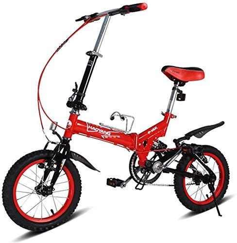 Fahrrad Kinder Falträder, 14-Zoll-Mini Folding Mountain Bike, High-Carbon Stahl Leichte bewegliche Faltbare Fahrrad, Suspension Bike (Color : Red)