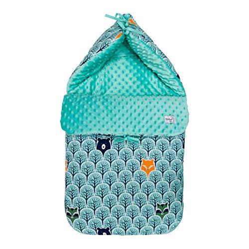 Babyboom universaler Fußsack (45x88 cm) geeignet für alle Babyschalen, Kinderwagen und Buggys/wasser- und winddicht/Baumwolle & Minky/für Herbst-Winter-Frühjahr (Tiere im Wald - Minky mit)