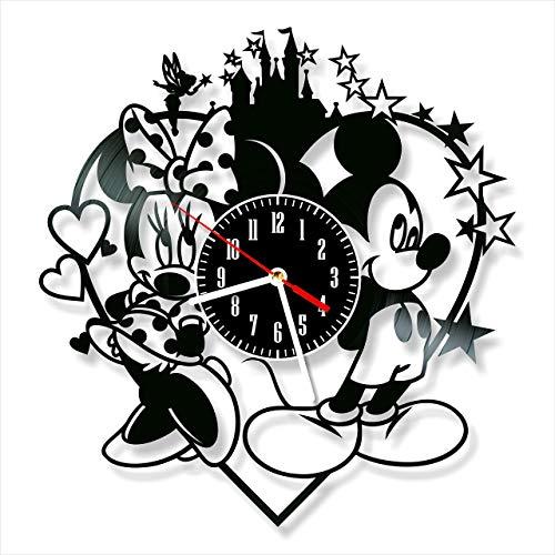YYIFAN Wanduhr Aus Vinyl Schallplattenuhr Mickey und Minnie Mouse, Familien Dekoration 3D Design Uhr Wand-Deko Schwarz Restaurantuhr, Mit Haken 30 cm Lieferzeit 8 bis 15 Tage