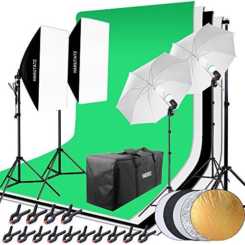 HAKUTATZ® Profi Greenscreen Set mit Hintergrund, Hintergrundsystem, Softboxen