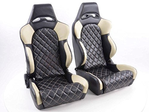 FK Automotive FK Sportsitz Autositz Halbschalensitz Set Las Vegas Rennsitz Motorsport-Optik FKRSE011025