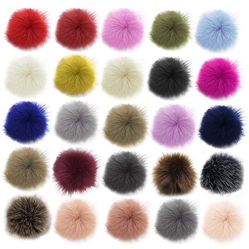 Pompons aus Kunstfell, bunter Kunstfell, flauschige Pompons mit elastischer Schlaufe für Hüte, Schlüsselanhänger, Schals, Handschuhe, Taschen, Zubehör, zufällige Farbe, 26 Stück