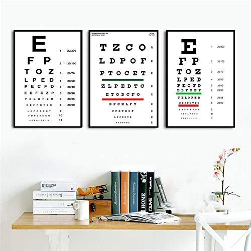 MMLFY 3 Leinwandbilder 30x40cm3pcs Moderne Sehtest Snellen Diagramm Besten Augen Test Angebote Poster Und Drucke Kunst Gemälde Wandbilder Für Wohnzimmer Wohnkultur