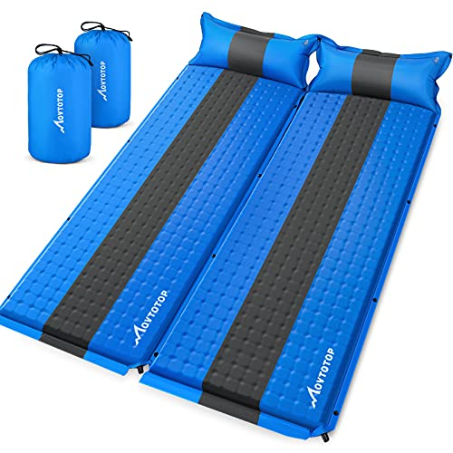 MOVTOTOP Sleeping Pad for Camping 2 Packs, 【2021 Newest】 Foam Self-Inflating Ultralight Thicken Sleeping Mat with Attached Pillow, Perfect Gear for Hiking, Traveling and Backpacking (Self-Inflating)