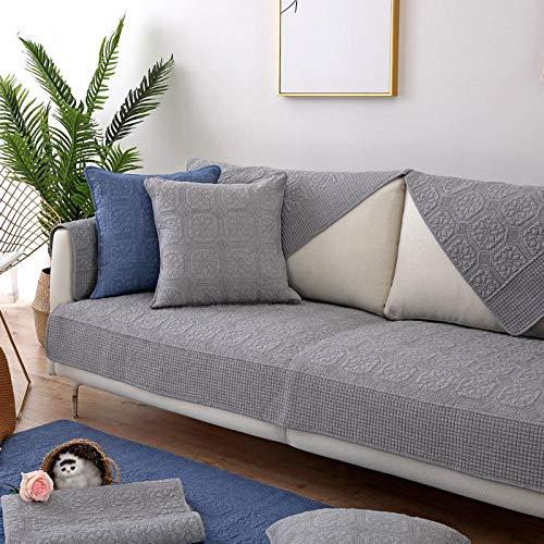 Homeen Sofa Cover,Couch Coat,Funda de sofá Antideslizante de algodón para Primavera,Verano,otoño,Invierno,Fundas de sofá Acolchadas,Fundas de cojín de sofá Bordadas-Gris Claro_Los 70 * 210cm