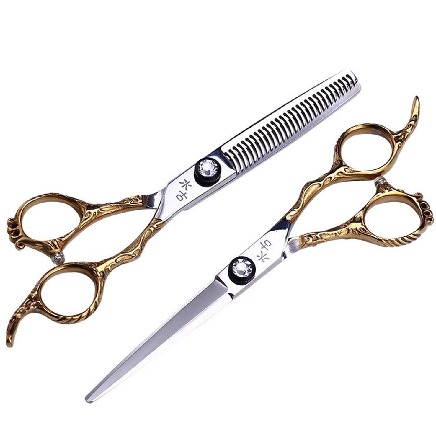 理髪はさみプロの髪はさみステンレス鋼の刃シャープスタイリングかみそり切断はさみと間伐はさみキット6.0