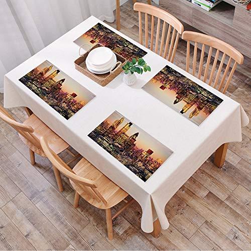 Set de Table Antidérapant Lavable Résiste à la Chaleur Rectangulaire Sets de Table pour Restaurant,New York, décor, Global City Coucher ,Table à Manger en Cuisine ou Salle à Manger, 45x30 cm Lot de 4