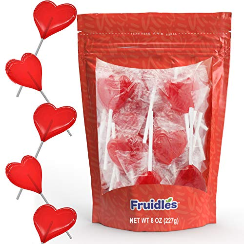 Fruidles Valentines Day Candy, Red Heart Shaped Hard Candy Suckers, Kosher Parve, Individually Wrapped (8 Oz Bag, Approximate 18 Lollipops)