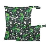 JUMBEAR Divertido dinosaurio calaveras secas bolsas de tela para viajes, playa y bebé, organizador de bolsas secas con dos bolsillos con cremallera para traje de baño y gimnasio, 2 unidades