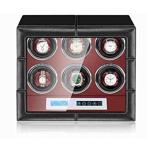 Reloj Caja automática enrolladora de Reloj con Enchufe Caja de Reloj mecánico de Cuerda automática con Motor silencioso, 15 Modos Ajustables Happy Life