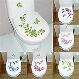 Fhouses Schwarz Aufkleber für WC Toiletten Deckel Hibiskusblüten und Schmetterlinge Wand-Aufkleber