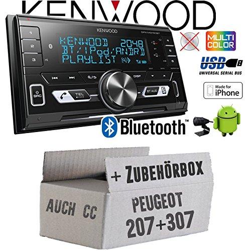 Autoradio Radio Kenwood DPX-M3100BT - 2-DIN Bluetooth USB VarioColor Einbauzubehör - Einbauset für Peugeot 207 307 - JUST SOUND best choice for caraudio