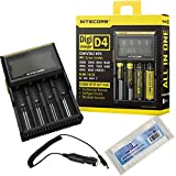 NiteCore NiteCore-D4+CAR-Adapter Bundle Nitecore D4 Charger with Integrated LCD Panel Clearly Displays for Li-Ion Ni-MH Ni-Cd Batteries with Bonus Car Adapter