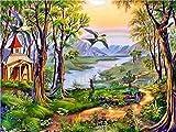 ZUIAIIUYA Pintar por Numeros Adultos Niños DIY Pintura por Números con Pinceles Y Pinturas,Regalos De Decoración del Hogar-Paisaje Natural(16 * 20 Pulgadas, Sin Marco)