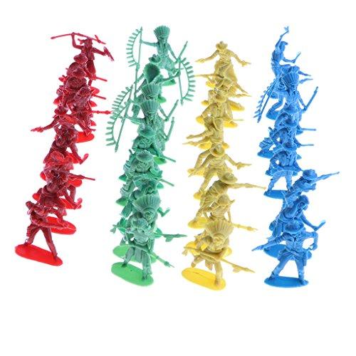 IPOTCH 40 Pedazos Figuras de Acción en Miniatura Soldados Indios con Armas Decoración...
