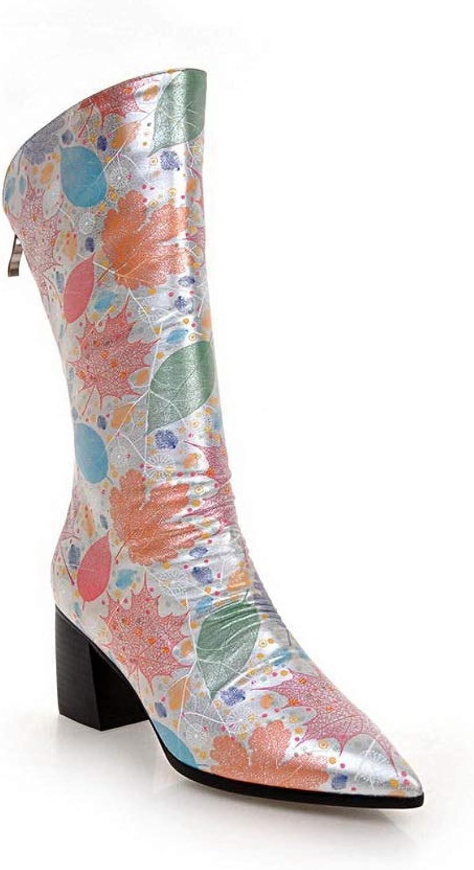 AdeeSu Womens Square Heels Zipper Microfiber Boots SXC03520