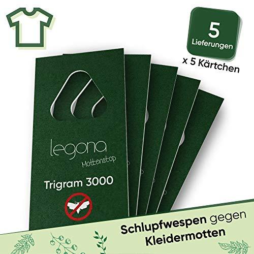 Legona® - Schlupfwespen gegen Kleidermotten/Biologische & Nachhaltige Bekämpfung von Textilmotten / 5X Trigram-Karte à 5 Lieferungen/Alternative zu Mottenspray und Mottenkugeln