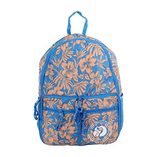 Margaritaville Womens Girls Lightweight Convertible Nylon Pouch Bag Backpack Floral Blue