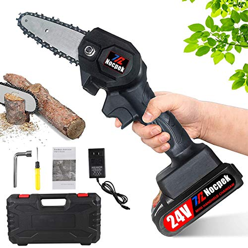 Mini Chainsaw,4 Inch Cordless Chain Saw, Portable Chainsaw with Powerful Brushless Motor 0.7Kg Lightweight Pruning Shear Chain Saw for Gardening, Tree Branch Wood Cutting (Black Saw Set)